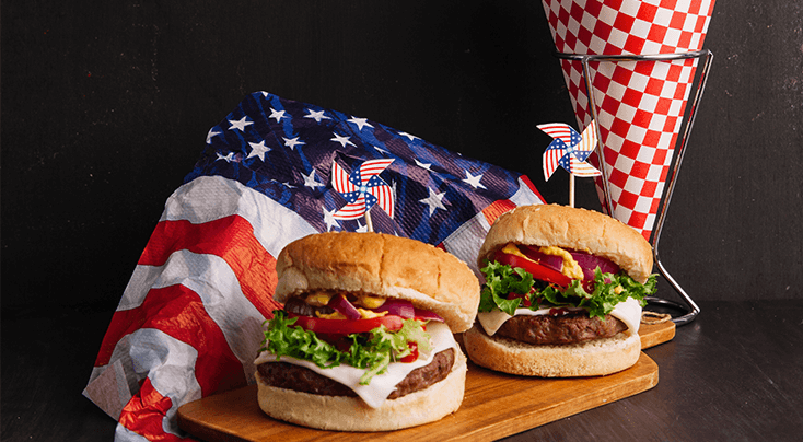 2 burguer with american flag for a memorial day